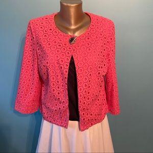 Charter club eyelet lace pink jacket